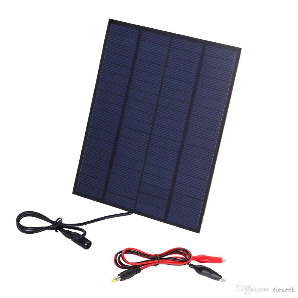 5Pcs/Lot 5W 18V PET Solar Cell Panel with DC Female Output Alligator Clip Polycrystalline Solar Cell for Battery and Solar Project