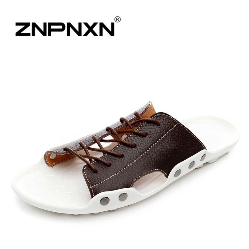 100a18398ee8 2019 ZNPNXN New 2016 Mens Sandals Genuine Leather Cowhide Sandals Outdoor  Casual Men Summer Leather Shoes For Men From Jdms110