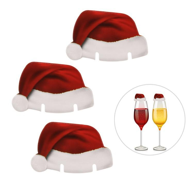 Red Wine Glasses Hat Antlers deer Paper Xmas Hat Christmas Decorations Champagne Wine Glass Insert Caps Christmas Paper Card Hat Sign Flag