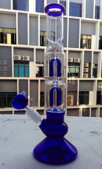 Atacado 4 braço coador de vidro bong vidro tubulação de água 13 polegada azul tubo de vidro de fumar com 19mm tigela óleo rig