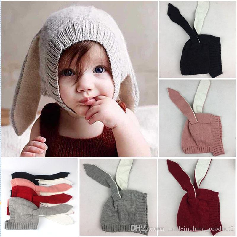 ef323ea57df 2019 INS Autumn Winter Toddler Infant Knitted Baby Crochet Hats Adorable Rabbit  Long Ear Hat Baby Bunny Beanie Caps Photo Props From Madeinchina product2