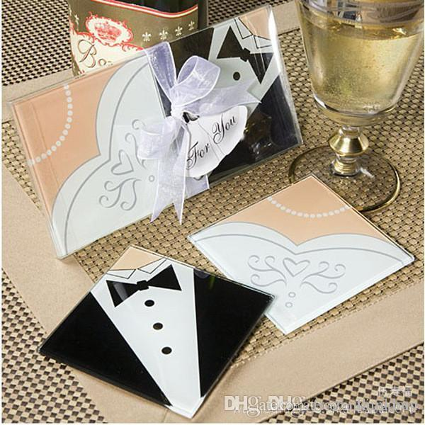 Discount Wholesale Creative Wedding Gifts Bride And Groom Dress Glass Coasters Favors 060505 From China
