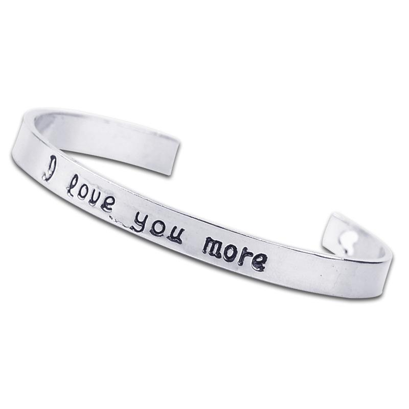 Charmful Stamped Saying I Love You More Cuff Bracelet With Laser Heart Elegant Bangle For Women Fashion Jewelry