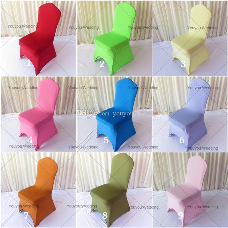 Stock Promotion: 100st MOQ Mixed Color Spandex Bankett Chair Cover 205-210gsm med gratis frakt för bröllopsbruk