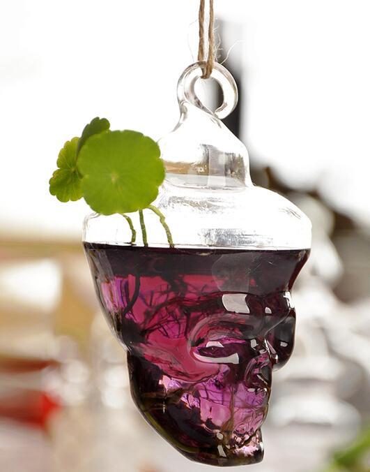 شنقا الجمجمة إناء الإبداعي الزجاج زهرة المزهريات زخرفة المنزل المزهريات الزجاجية الأزياء حزب ديكور بار مطعم هدية