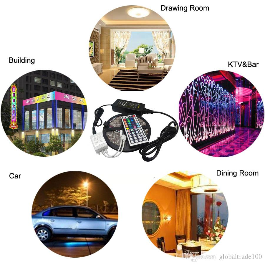 5M RGB Led Strip 5050 SMD Waterproof 60LED/M DC12V LED Light + 24/44 Keys Remote Controller + 12V 5A Power Adapter Best Quality