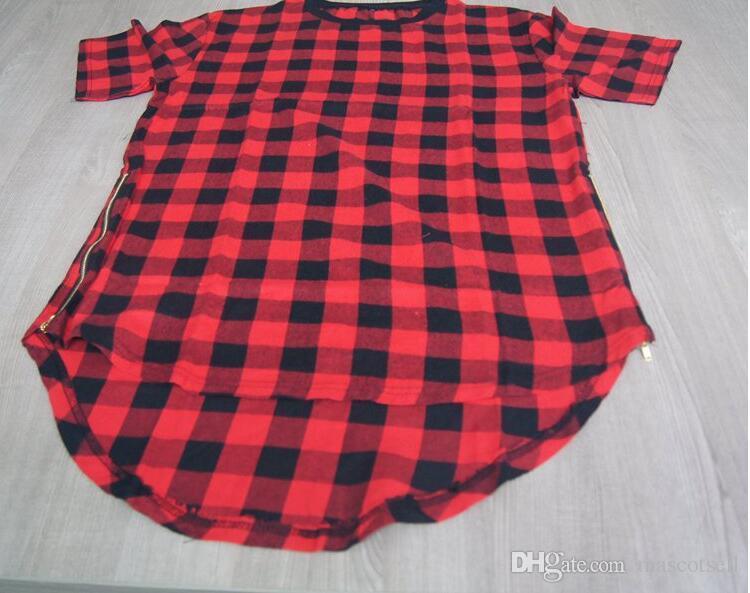T-shirt in tartan oversize con cerniera laterale Tyga L K, camicia da uomo in tartan oversize