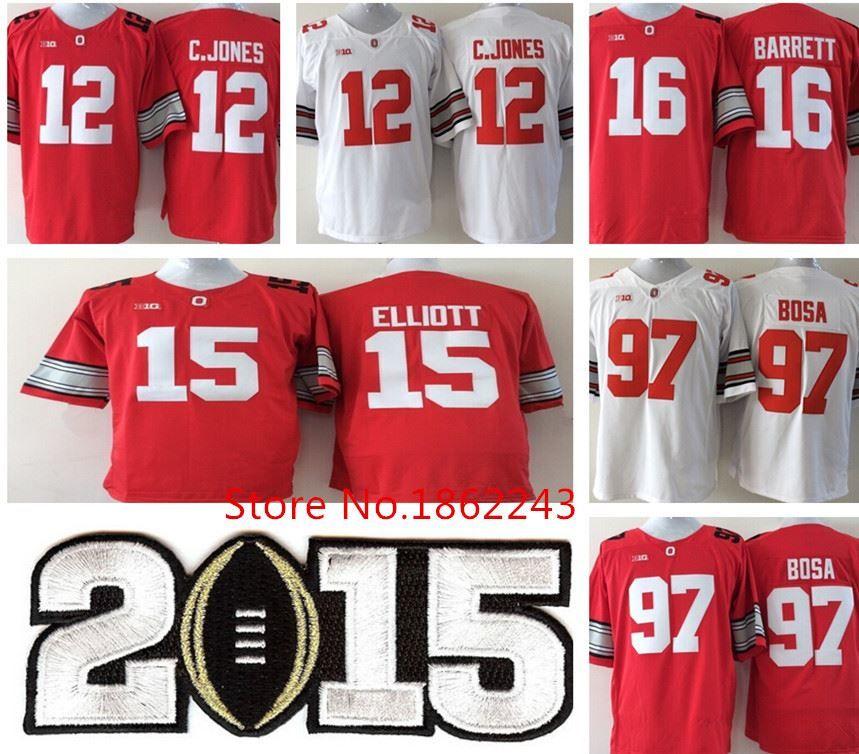 0dfcfcbc88a 2015 Ohio State Buckeyes 12 C.Jones 16 Barrett 97 Joey Bosa 15 Ezekiel  Elliott NCAA Playoffs Finals Red White Diamond Football Jerseys High  Quality Jerseys ...