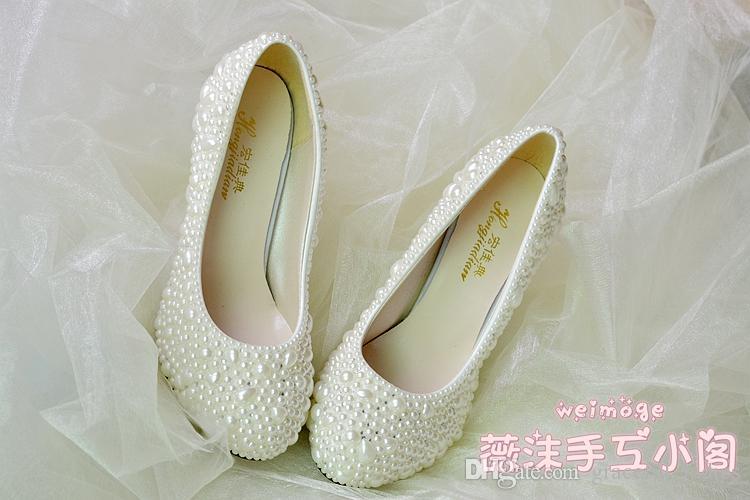 اليدوية لؤلؤة أحذية الزفاف 2015 جديد شقة 4.5 سنتيمتر 8 سنتيمتر كعب العاج هريرة كعب أحذية الزفاف مخصص الحجم أحذية العروسة أحذية الانزلاق على