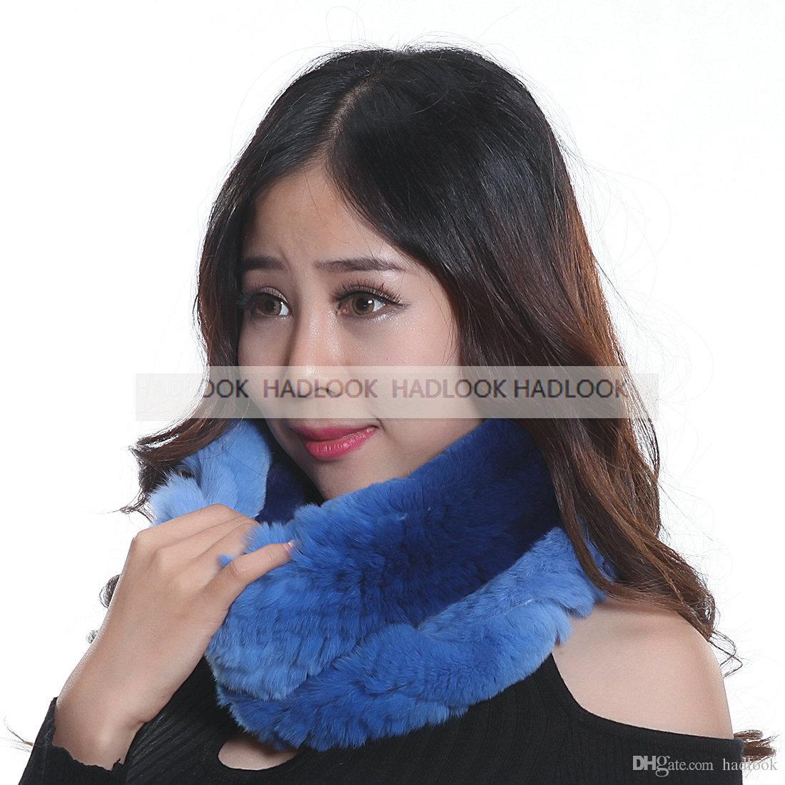 2016 New Style Ladies Fur Scarves Winter Knitted Rex Rabbit Fur Scarf Long Fur Scarves wrap