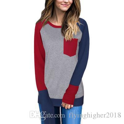 Uzun Kollu Yuvarlak Boyun Üst Gevşek Pamuk Patchwork Tops 2017 YENI Varış sonbahar Casual Gömlek Bayan Büyük Kız Beyaz Kırmızı Tshirt Bluzlar artı