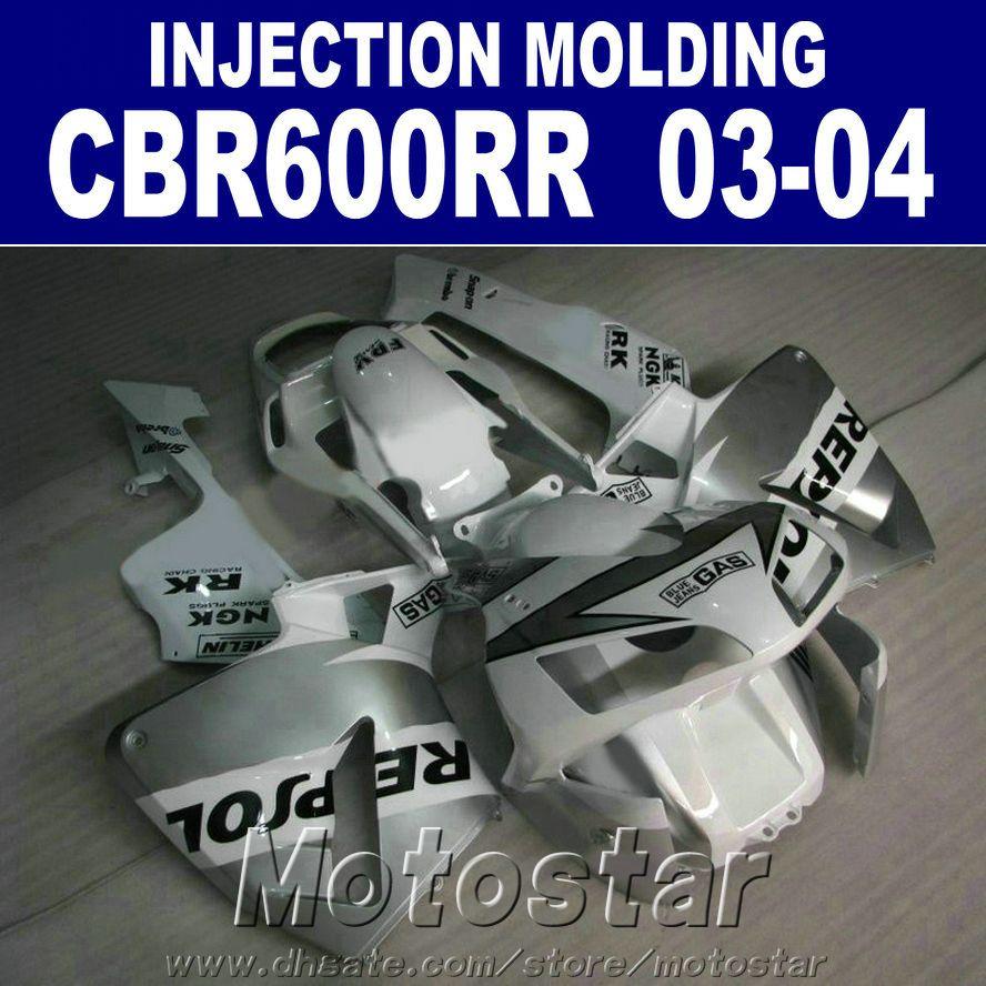 Fit! HONDA CBR 600RR için 100% Enjeksiyon Kalıplama kaporta 2003 2004 gümüş cbr600rr 03 04 vücut onarım parçaları + 7 Hediyeler OGWE