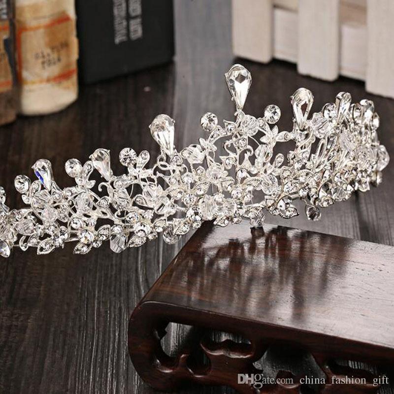a9b87b7b5 Crystal Rhinestones Crown For Bride Korea Style Wedding Hair Jewelry ...