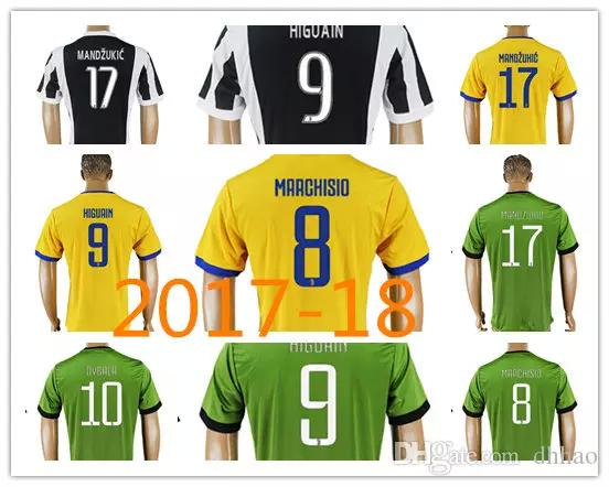 698d4037378 2019 17 18 DYBALA HIGUAIN Soccer Jersey 2017 2018 Home Away Yellow Third  Green CUADRADO KHEDIRA MARCHISIO MANDZUKIC CHIELLINI BUFFON Shirt From ...