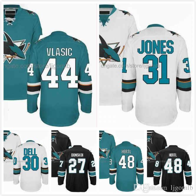 premium selection 2c2dc 30681 Aaron Dell Jersey 30 Tomas Hertl 48 Martin Jones 31 Joonas Donskoi 27  Marc-Edouard Vlasic 44 Hockey Jerseys San Jose Sharks Stitched S-3XL