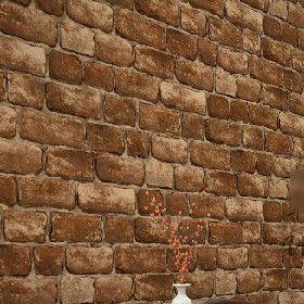 Pvc Vinyl Tan Vintage Wall Paper Brick Embossed Textured Wall Wallpaper