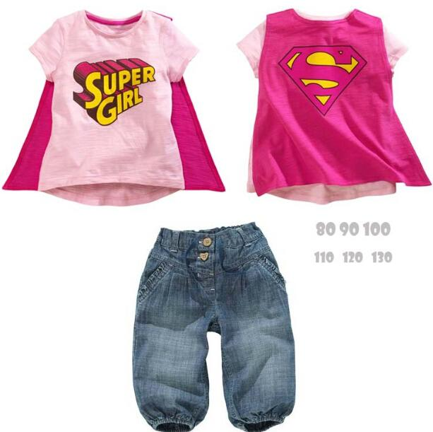 0bfa67878 Baby Supergirl Clothes Baby Girl Denim Pants Cartoon T Shirt Superman Cloak T  Shirt Jeans Suit Kids Short Sleeve Cotton Bowboys Set Girl Baby Supergirl  ...