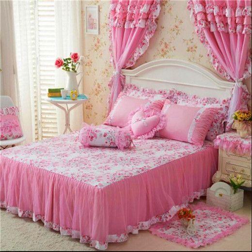 Luxury Cotton Princess Bed Bedding Set Girls Bedding Sets ...