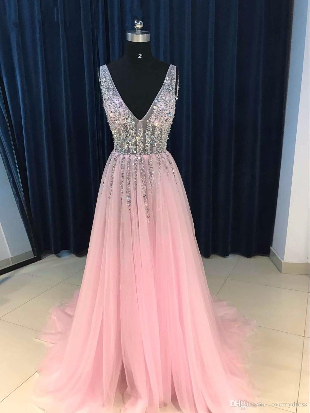 Sparkly Deep V neck Pearls Champagne 2020 Pageant Prom Dress Wine Red Cheap Long Backless See Through Beaded Backless Tulle Evening Gown