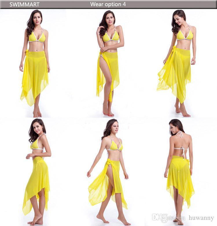 여성 수영복 비키니 섹시한 해변 커버 드레스 여성용 수영복 수영복 여성용 비키니 불규칙한 시폰 수영복 0020SC