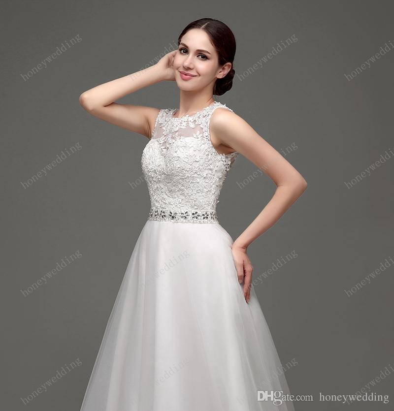 100 세 미만의 인기있는 웨딩 드레스 2016 O-Neck Lace Tulle Beaded Crystal Sweep Train 신부 가운 재고 웨딩 드레스 2016 신규