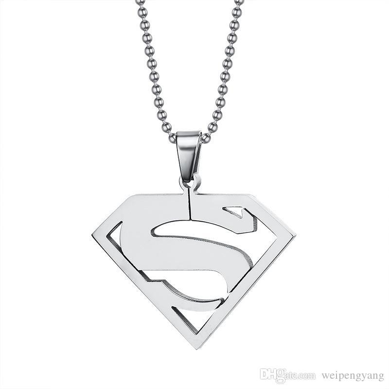 Toptan kolye Superman kolye Anime kolye Erkekler kolye Titanyum çelik kolye Aksesuarları toptan