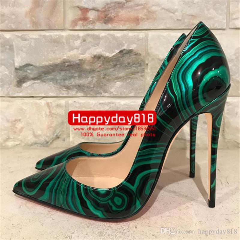 Ücretsiz kargo moda kadın pompaları Yeşil Siyah Malakit Patent Yüksek Topuklu ayakkabı botları 120mm hakiki deri