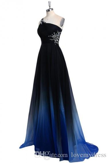 2020 Ombre Gradiant Color Evening Dresses One shoulder Empire Waist Chiffon Black Royal Blue Designer Long Cheap Prom Formal Pageant Dress
