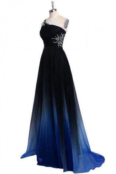 2021 Ombre Gradiant Color Evening Dresses One shoulder Empire Waist Chiffon Black Royal Blue Designer Long Cheap Prom Formal Pageant Dress