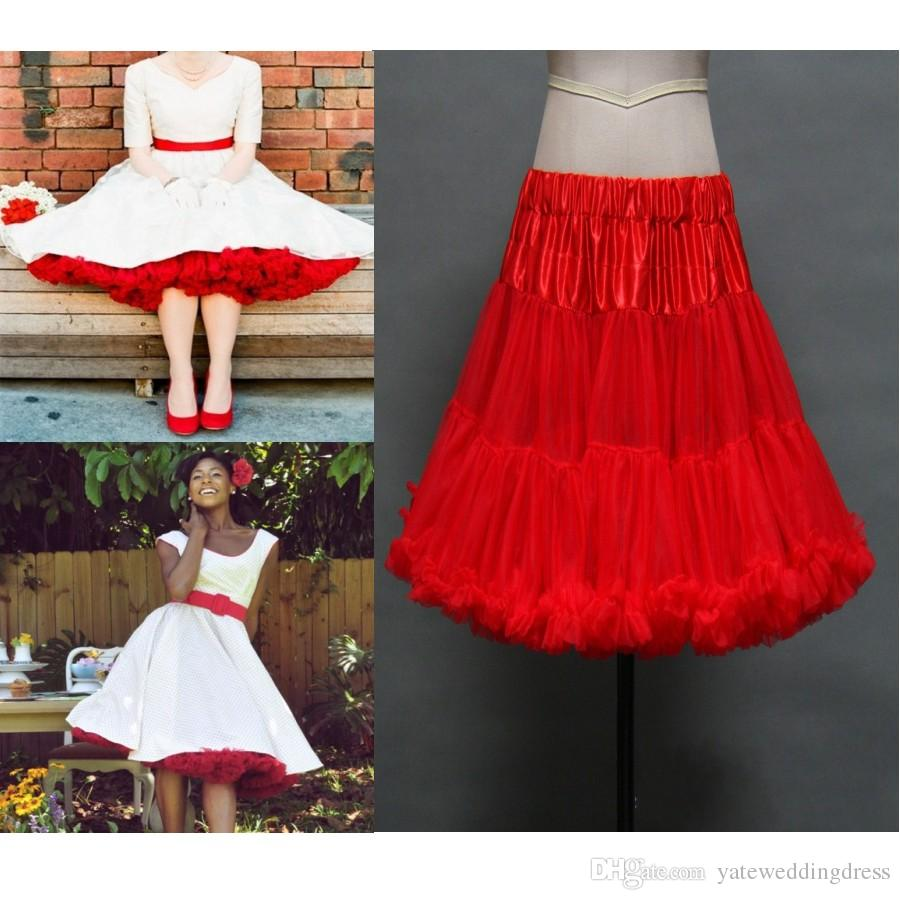Red Ruched Petticoats Colorful Custom Made Tulle Underskirt For Wedding Dress Formal Gowns 1950s Style Bridal Accessories Petticoat Girls: Wedding Dress With Red Accesories At Websimilar.org
