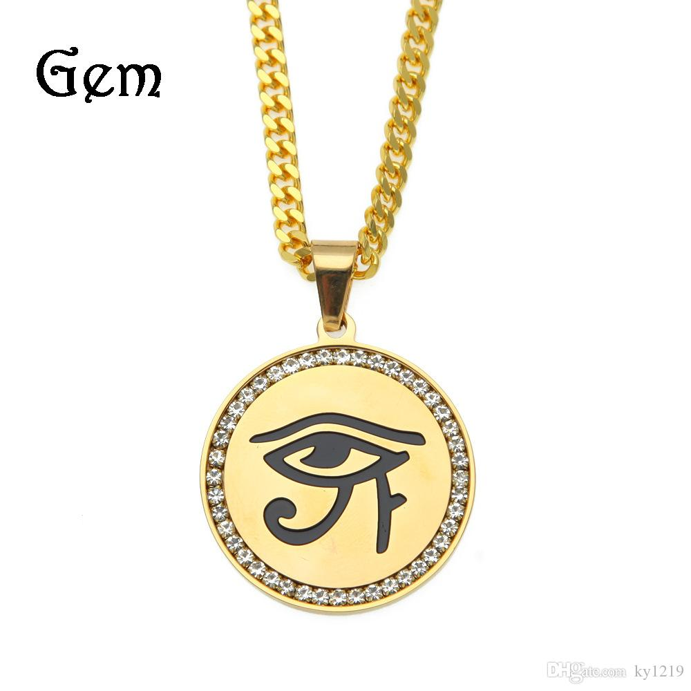 Wholesale hiphop freemason eye of horus pendant necklaces men gold wholesale hiphop freemason eye of horus pendant necklaces men gold plated shield pendants hip hop jewelry cool party accessories pendants gold necklace for mozeypictures Image collections