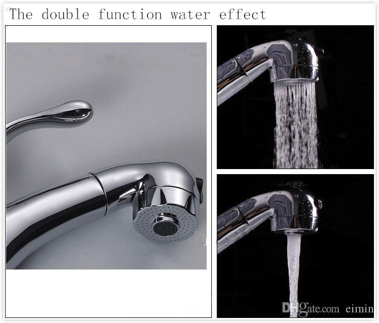 Venta al por mayor y al por menor envío gratuito Grifo de la cuenca extensible Grifo de agua caliente y fría El grifo del baño de la cocina Extraiga el grifo mezclador