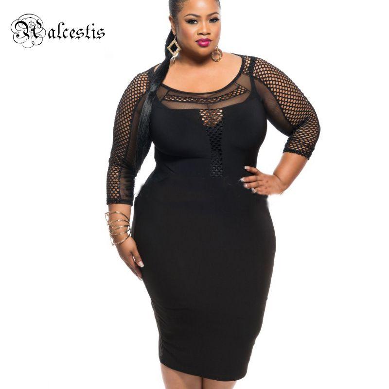new plus size xxl 3xl patchwork lace mesh black bandage dress