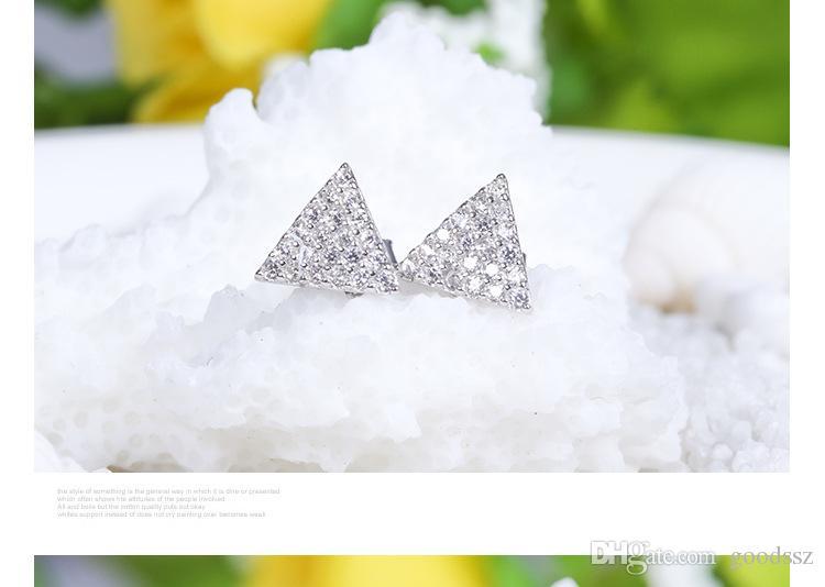 925 스털링 실버 스터드 귀걸이 패션 쥬얼리 작은 삼각형 전체 지르콘 다이아몬드 크리스탈 여성을위한 슈퍼 깜박임 귀걸이 여자