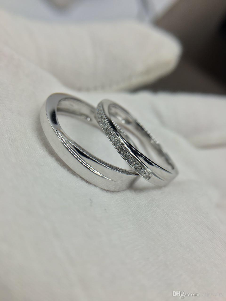Фабрика обработки пользовательских парных колец 18 К белого золота настоящее установление алмазов обручальное бриллиантовое обручальное кольцо обручальное кольцо пара
