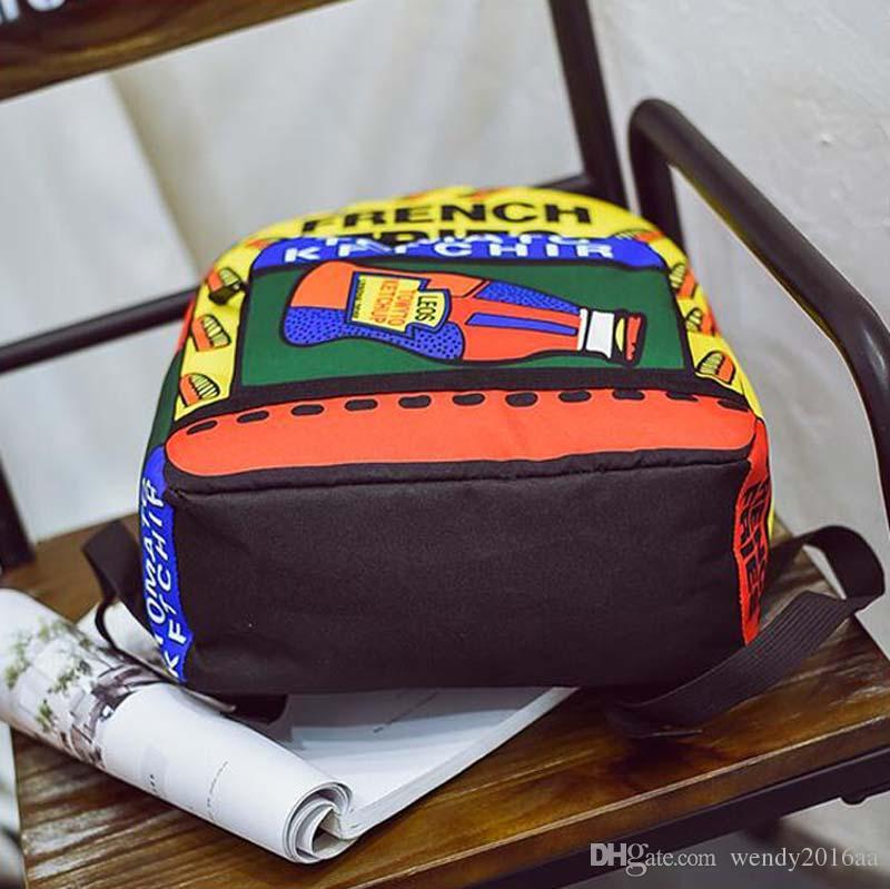 2017 Nova Garrafa Carta Impressão Mochila Sacos Mulheres Moda tendência da Lona Sacos de Viagem Estudantes Mochilas Escolares Pessoais