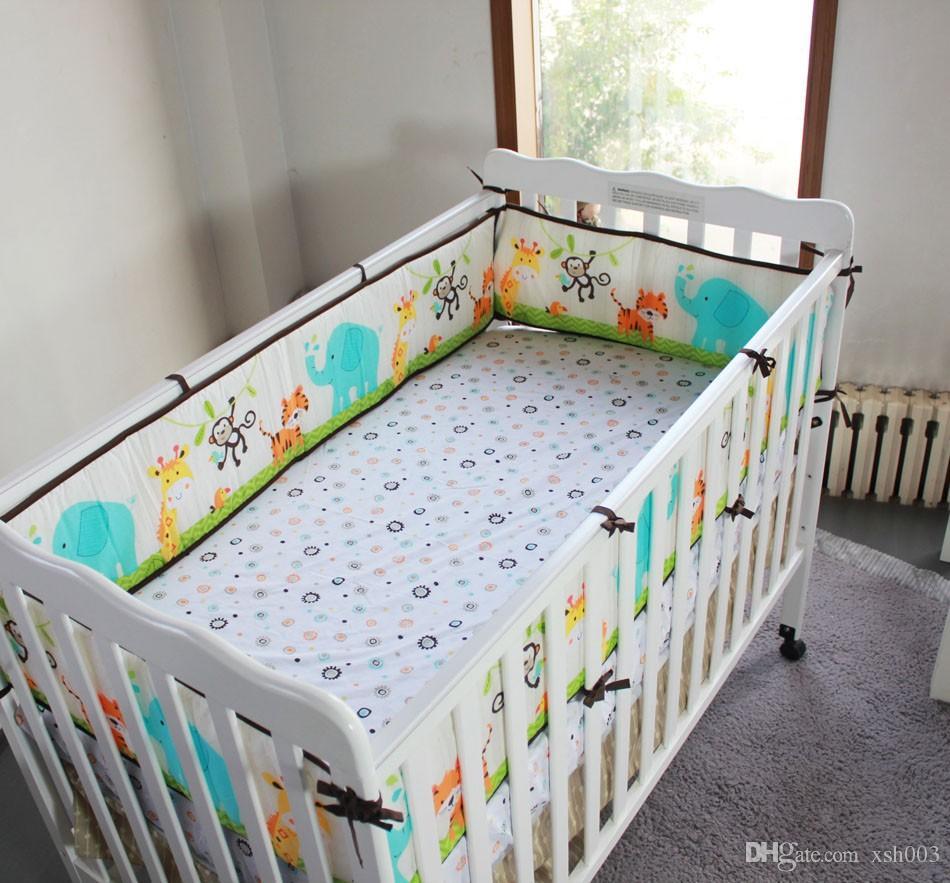 Wholesale 2016 Hot selling Cotton Baby bedding set embroidery tiger monkey bird Cot bedding set comfortable Crib bedding set