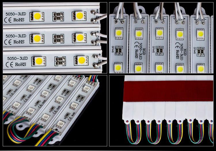SMD5050 LED Modülleri Su Geçirmez IP65 DC 12 V 0.72 W 3 Leds Sign Kanal Harfler Için Led Arka Işıkları Sıcak / Soğuk Beyaz Kırmızı Mavi aydınlatma 1000