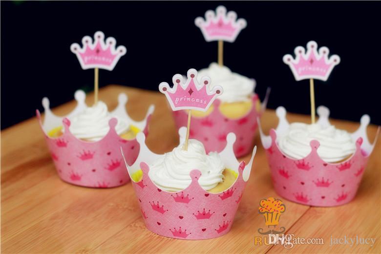 Película Crown Princess Cupcake Wrapper Decorar Cajas Cake Cup Con Toppers Selecciones Para Niños Cumpleaños Decoraciones Navideñas Suministros