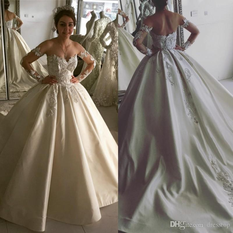 Luxury Ball Gown Wedding Dresses Off Shoulder Backless Bridal Gowns ...