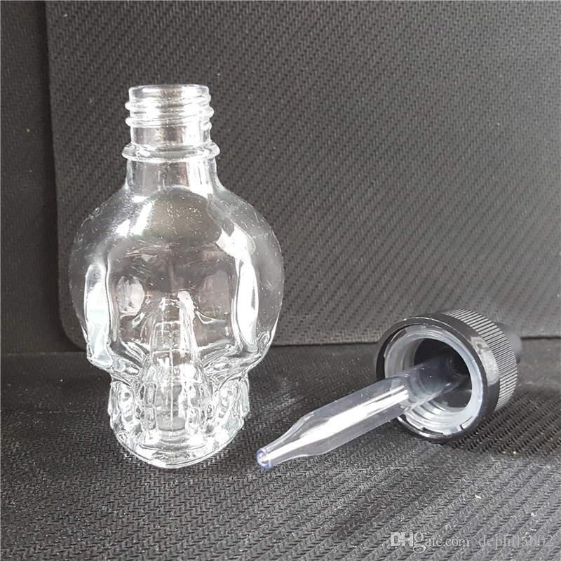 유리 두개골 병 30ml vape 주스 빈 E cig 액체 투명 Dropper 병 30 ml eliquid ecig 에센셜 오일에 대 한 아이 방질 모자