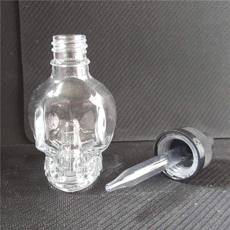 Glas-Schädel-Flaschen 30ml Vape-Saft-leeres E-Cig-flüssige, klare Troppfe-Flasche 30 ml mit kindersicheren Kappen für eliquide Ecig ätherische Öle