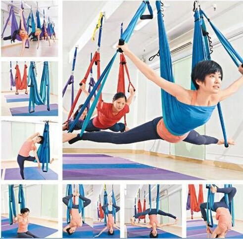 100% True 7meter Length Multifunction Flying Yoga Hammock Aerial Swing Trapeze Anti-gravity Inversion Aerial Traction Device Yoga Belts Yoga Belts Fitness & Body Building