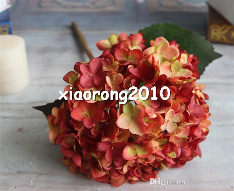 European Silk Single Stem Hydrangea 45cm Length Artificial Hydrangea Flowers Circle Hydrangeas Large Flower Head for Wedding Centerpieces