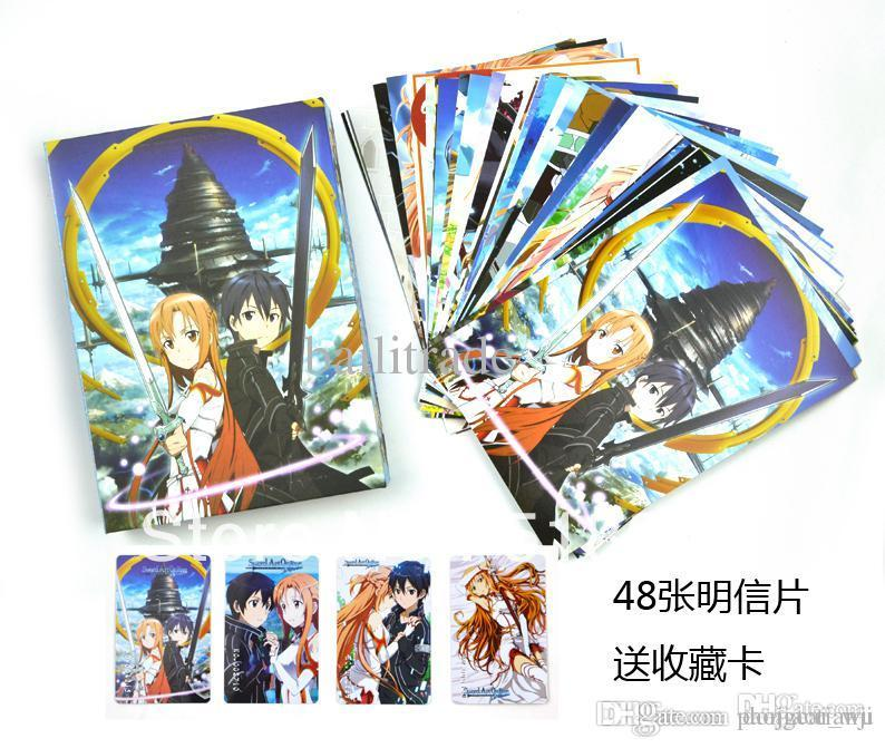 anime cartoon sword art online postcard greeting cards kids birthday