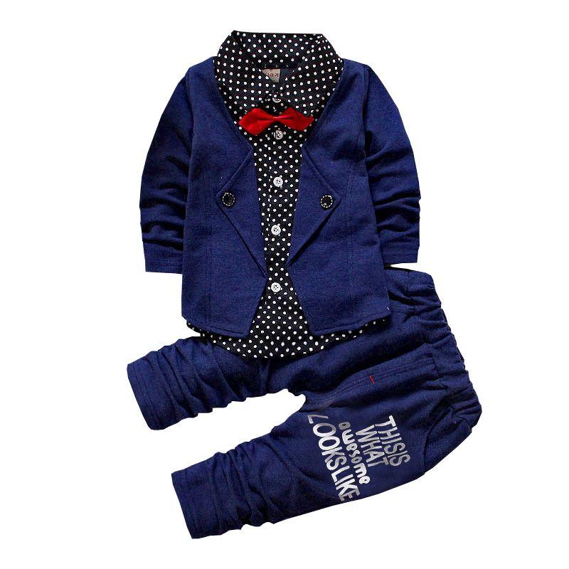 Kind Baby Boy Kleidung Sets Formale Party Taufe Hochzeit Smoking Bogen 2 Stück Kinder Jungen Mode Herren Frühling Fall Outfits 17112401