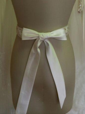 2015 великолепный сверкающий жемчуг бисером Белый Слоновой Кости длинные атласные свадебное платье пояс свадебные аксессуары пояса для новобрачных