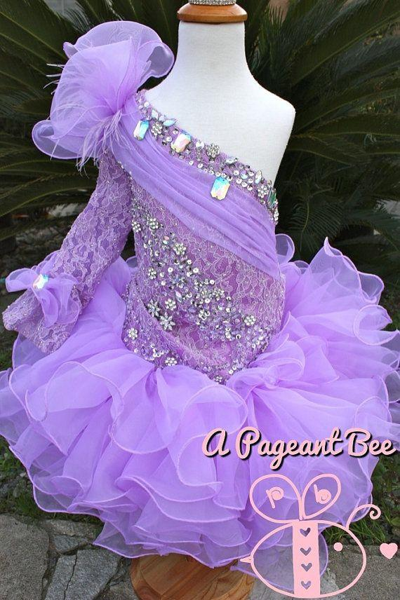 Light Purple Pageant Dresses For Girls One Shoulder Lace Long Sleeve ...