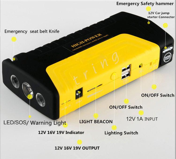 Carro Saltar de Arranque Para 12 V Auto EPS Carregador de Bateria de Carro de Emergência Móvel Banco de Potência com Bomba Elétrica Compressor de Ar Do Pneu Inflator