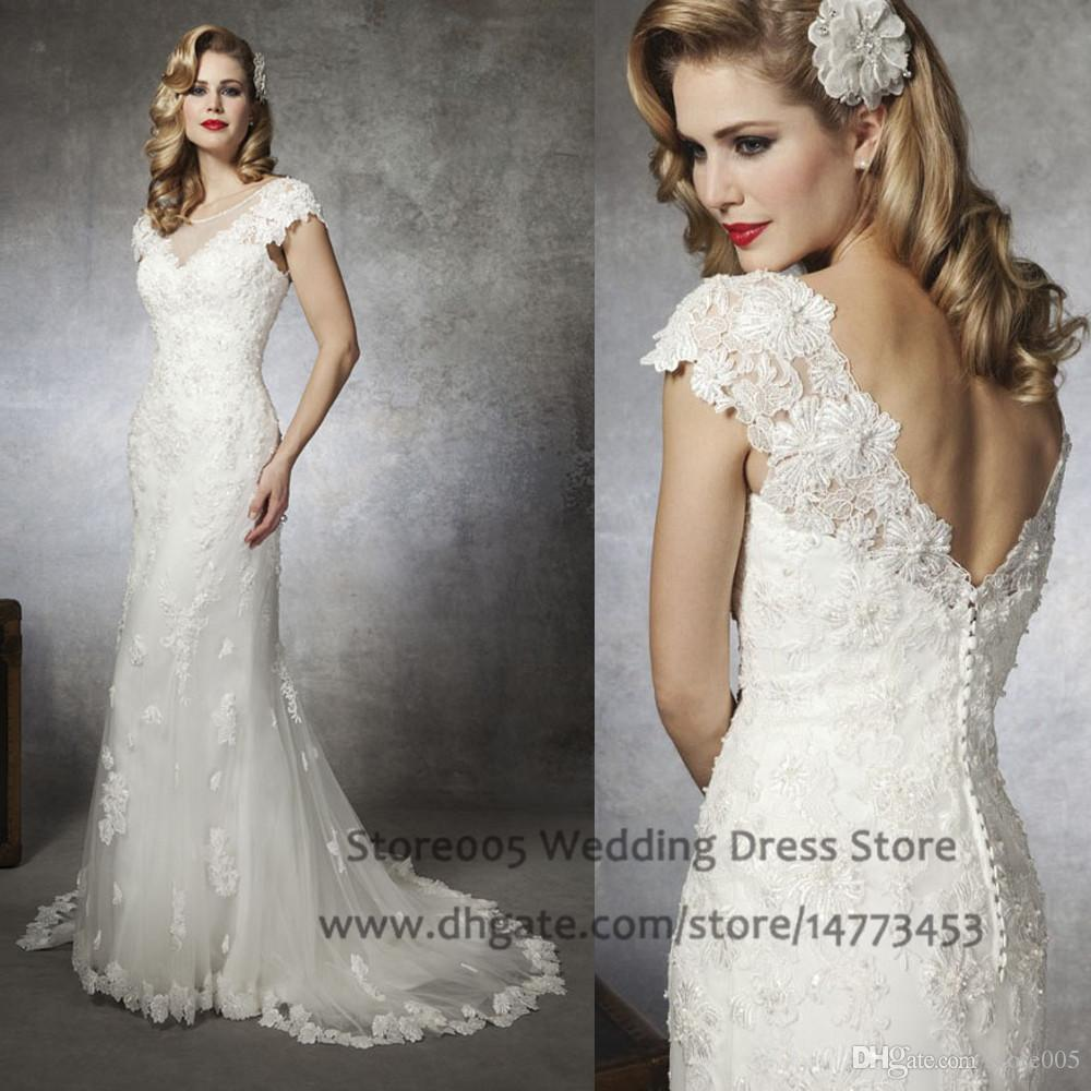 Vintage Wedding Gown Designers: 2016 Ivory Vintage Wedding Dresses Cap Sleeve Scoop Lace